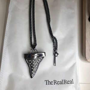 Givenchy Shark tooth Necklace w/ pearl detail